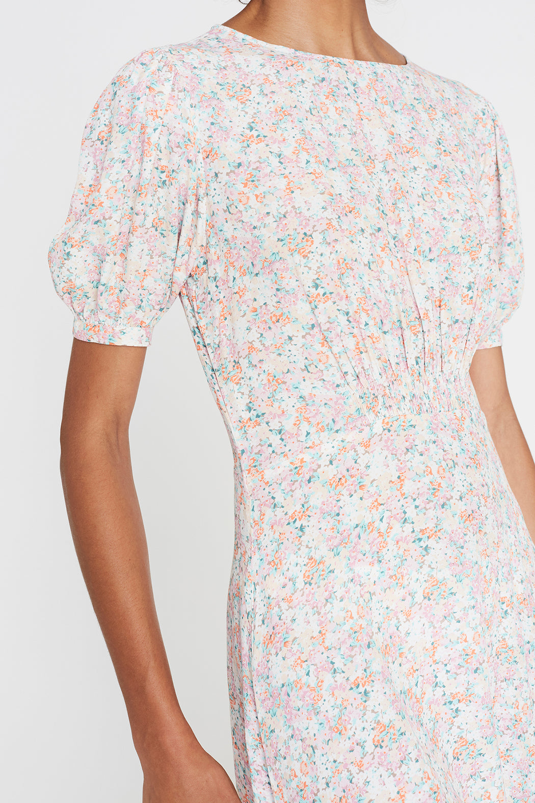 Faithfull the Brand Beline Midi Dress in Vionette Floral Pink