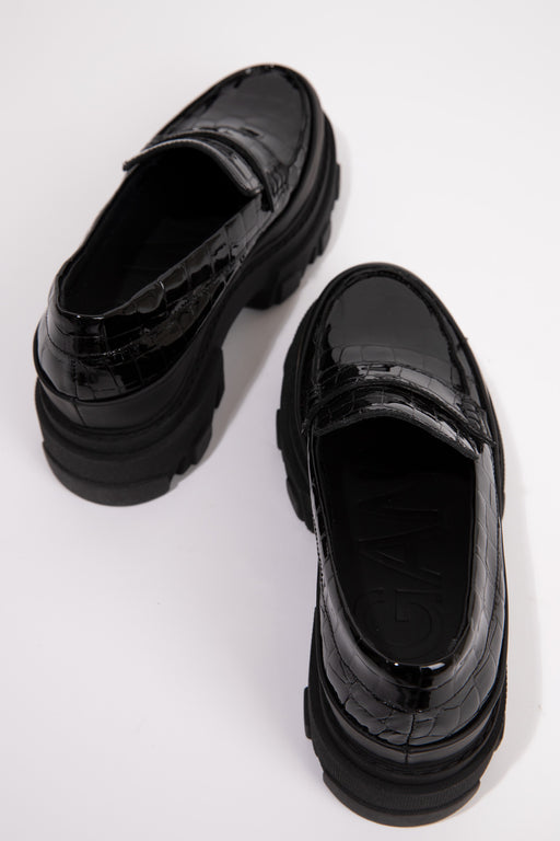 Ganni-Belly-Croc-Chunky-Loafer-Black