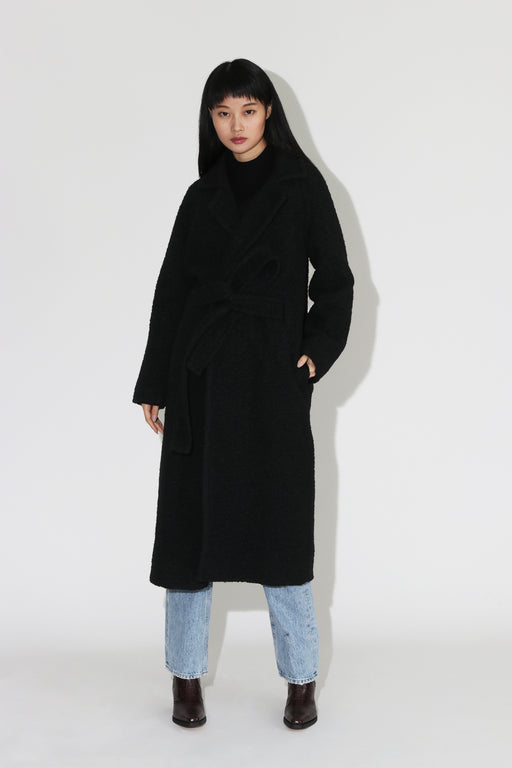 Ganni Boucle Wool Coat Black