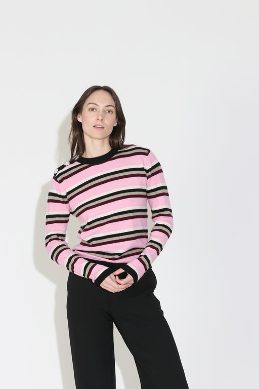 Ganni Cashmere Stripe Knit Pullover in Multi