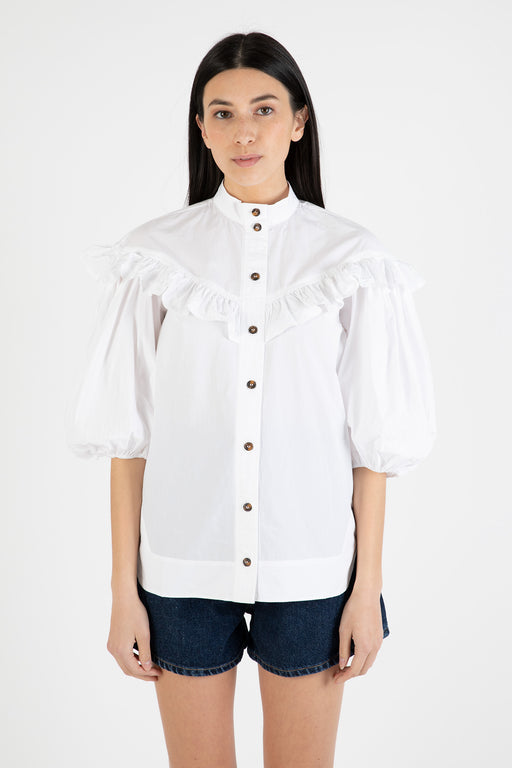 Ganni-Cotton-Poplin-Frill-Shirt-Bright-White