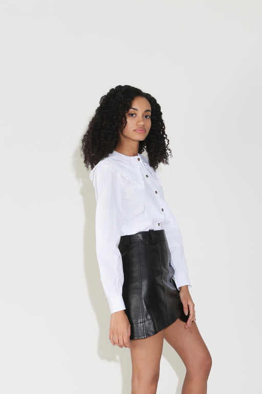 Ganni Cotton Poplin Shirt in Bright White