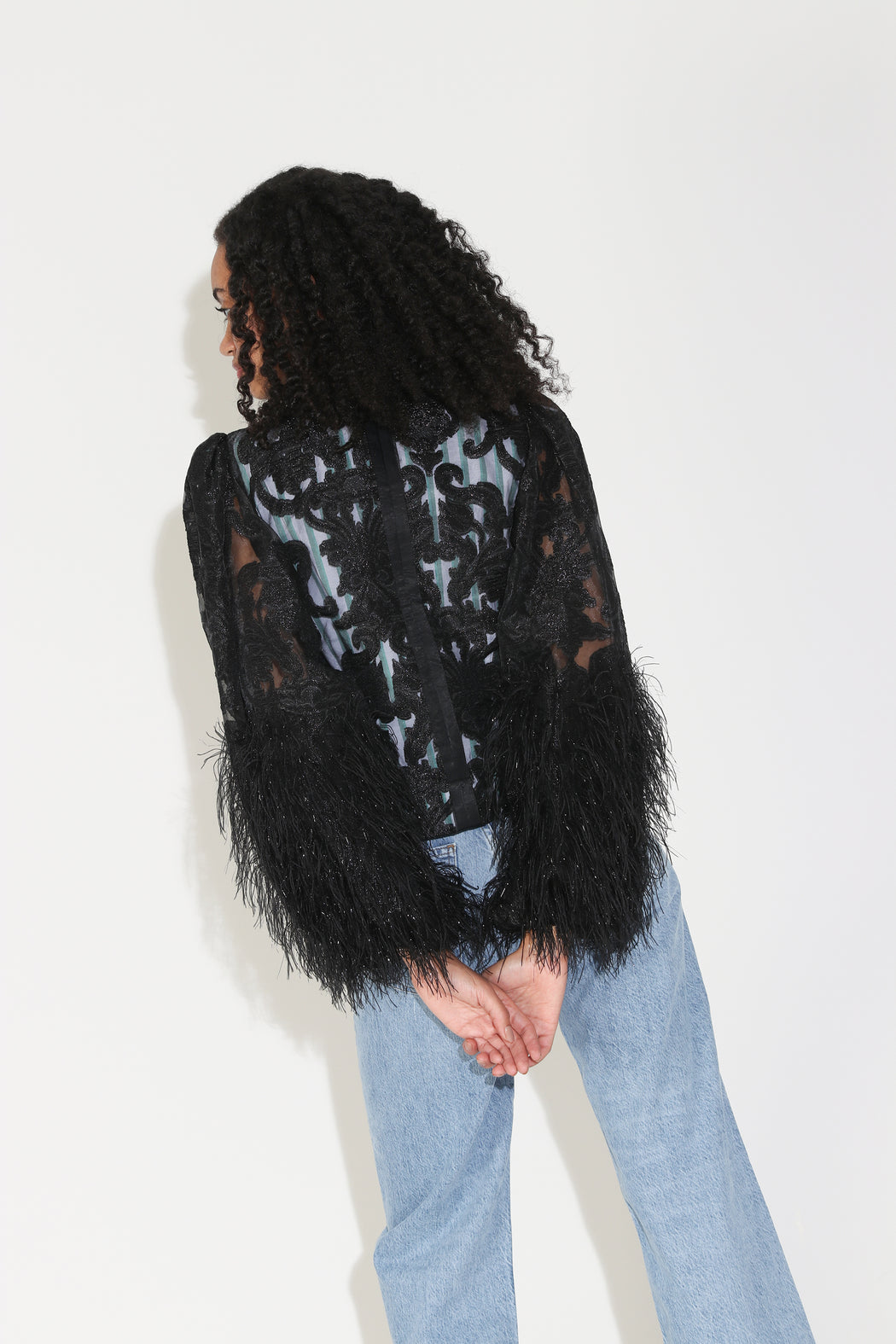 Ganni Feathery Cotton Blouse in Black