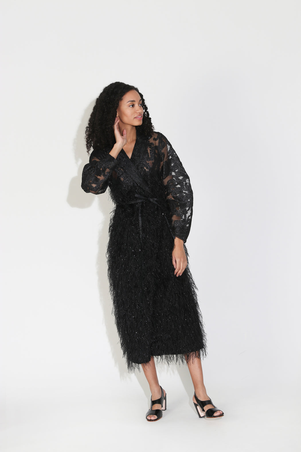 Ganni Feathery Cotton Wrap Dress in Black