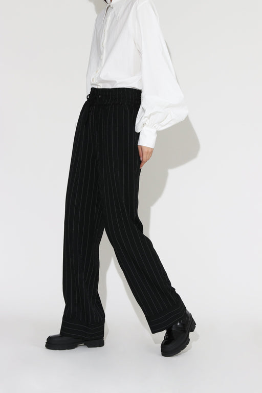 Ganni Heavy Crepe Stripe Pant Black