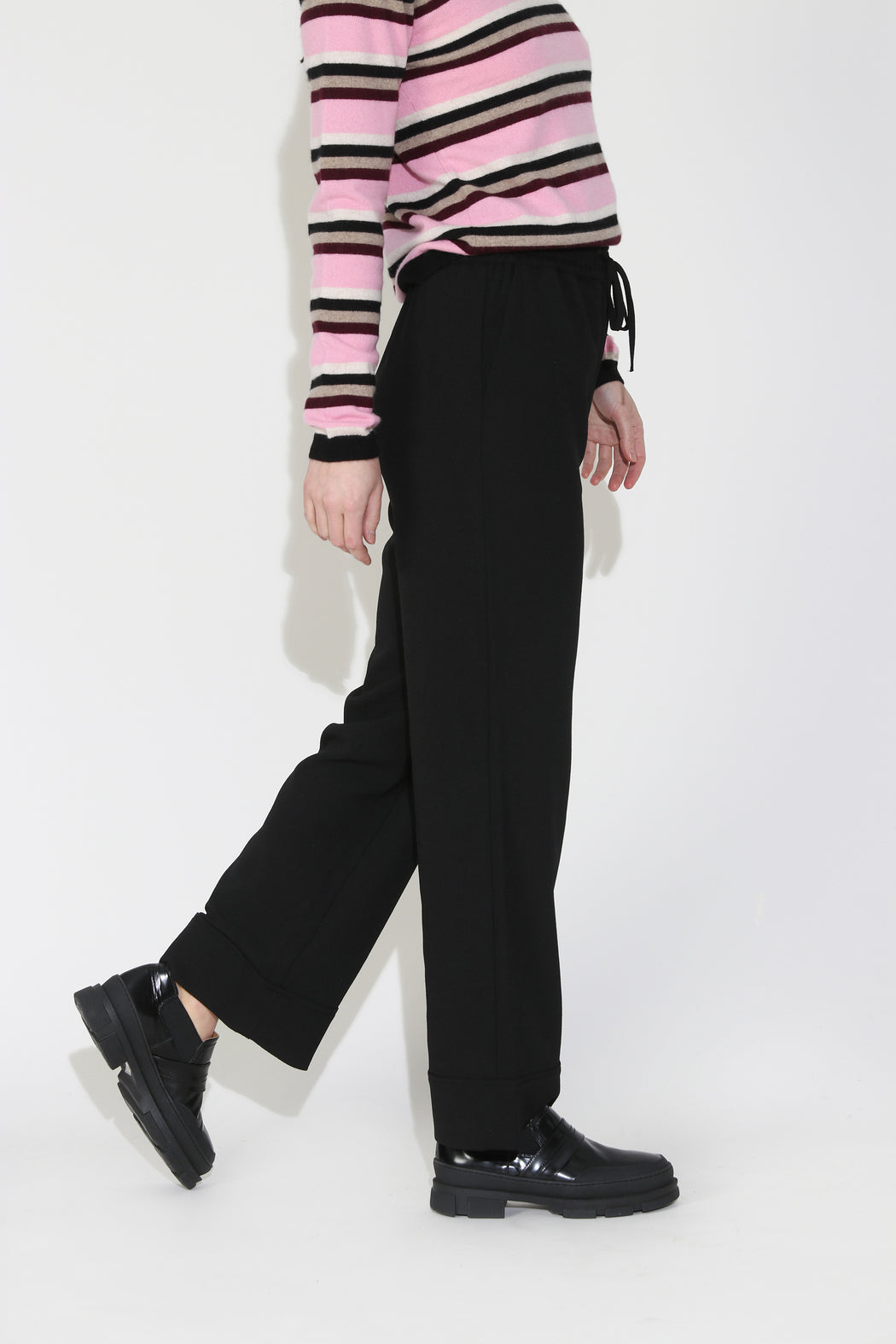 Ganni Heavy Crepe Wide Pants in Black