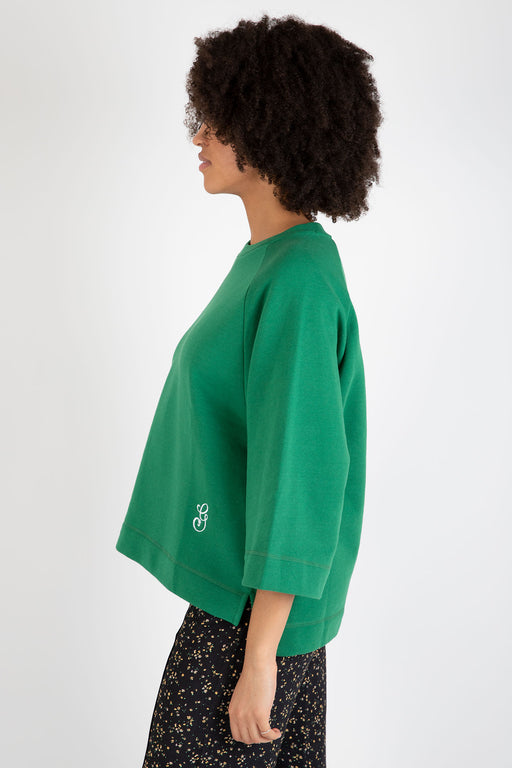 Ganni-Isoli-Oversized-Raglan-Sweatshirt-Green