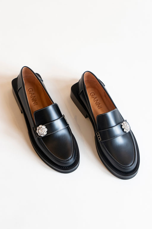 Ganni Jewel Moccasin Loafers Black