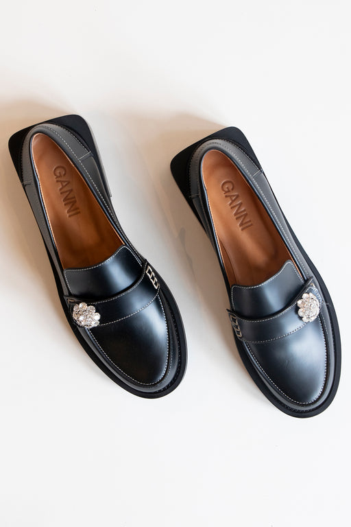 Ganni Jewel Moccasin Loafers in Black