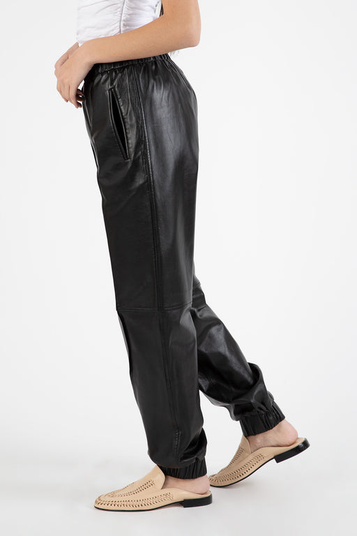 Ganni-Lamb-Leather-Pants-Black