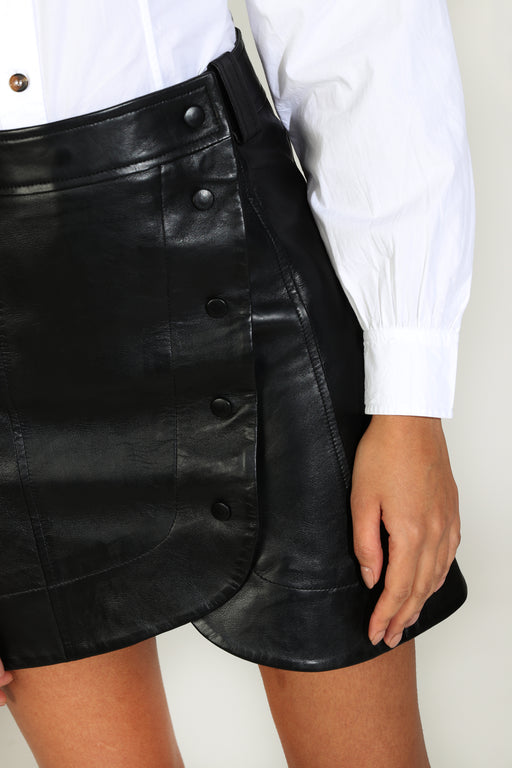Ganni Lamb Leather Mini Skirt in Black