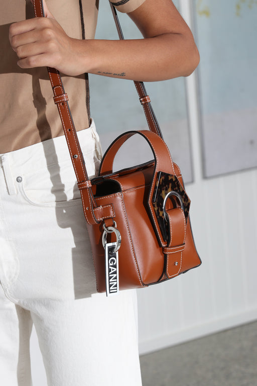 Ganni Leather Micro Tote Bag Cognac