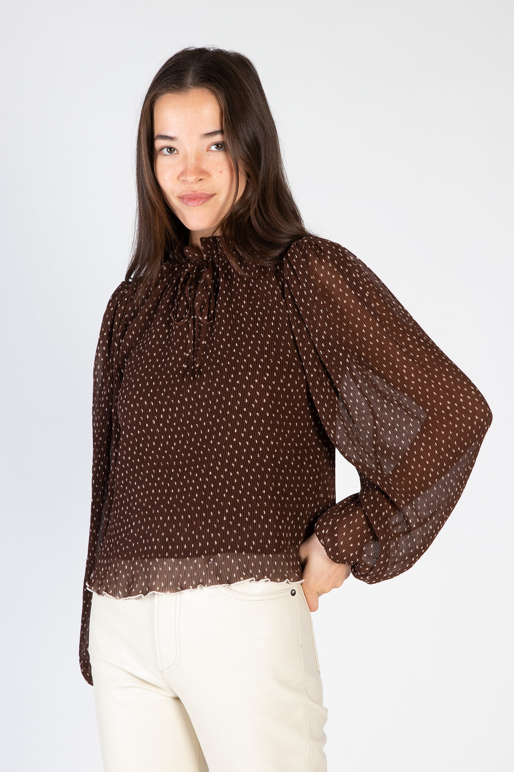 Ganni-Pleated-Georgette-Blouse-Chicory-Coffee