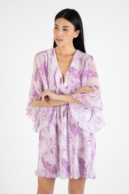 Ganni-Pleated-Georgette-Oversized-Mini-Dress-Orchid-Bloom