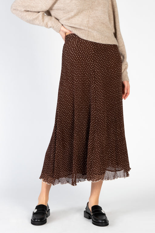 Ganni-Pleated-Georgette-Skirt-Chicory-Coffee