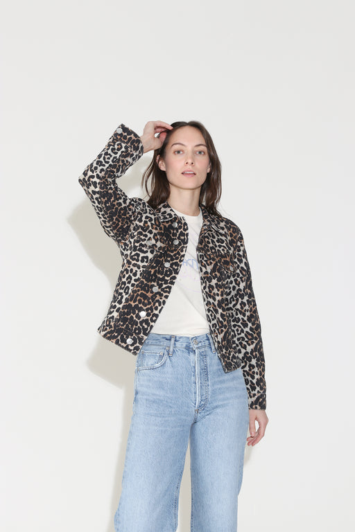 Ganni Print Denim Jacket in Leopard
