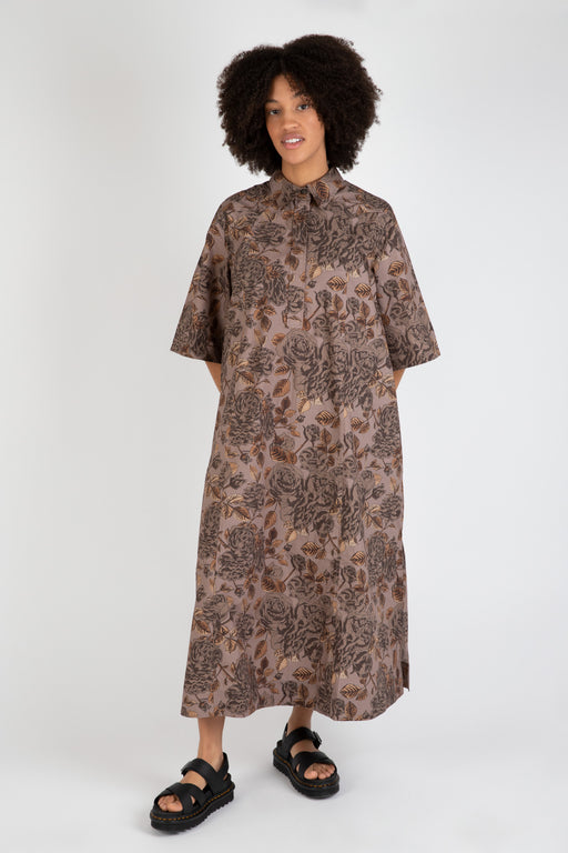 Ganni-Printed-Cotton-Poplin-Shirt-Dress-Fossil