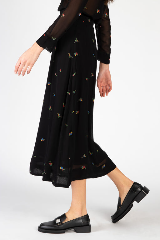Ganni-Printed-Georgette-Skirt-Black