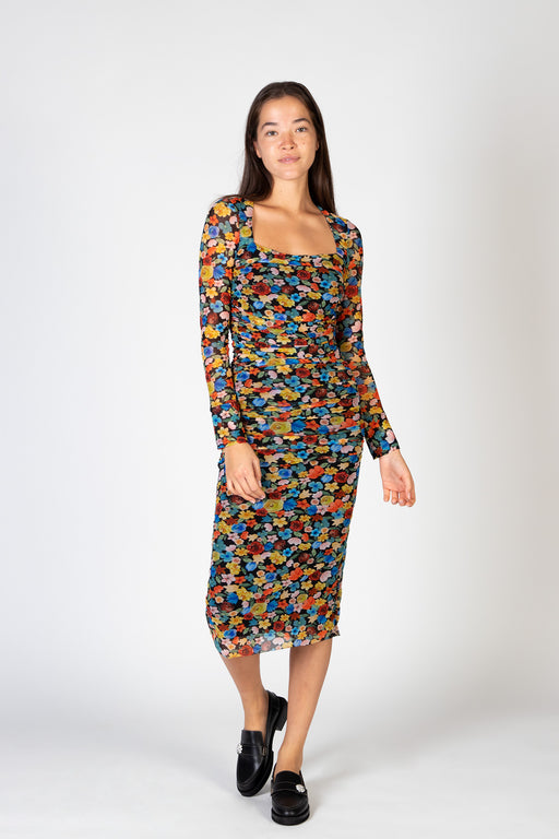 Ganni-Printed-Mesh-Dress-Multicolor