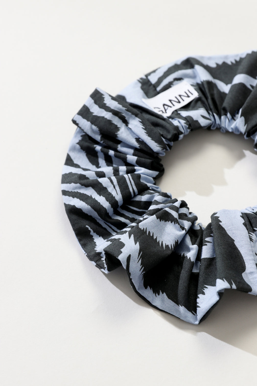 Ganni Printed Cotton Scrunchie Forever Blue