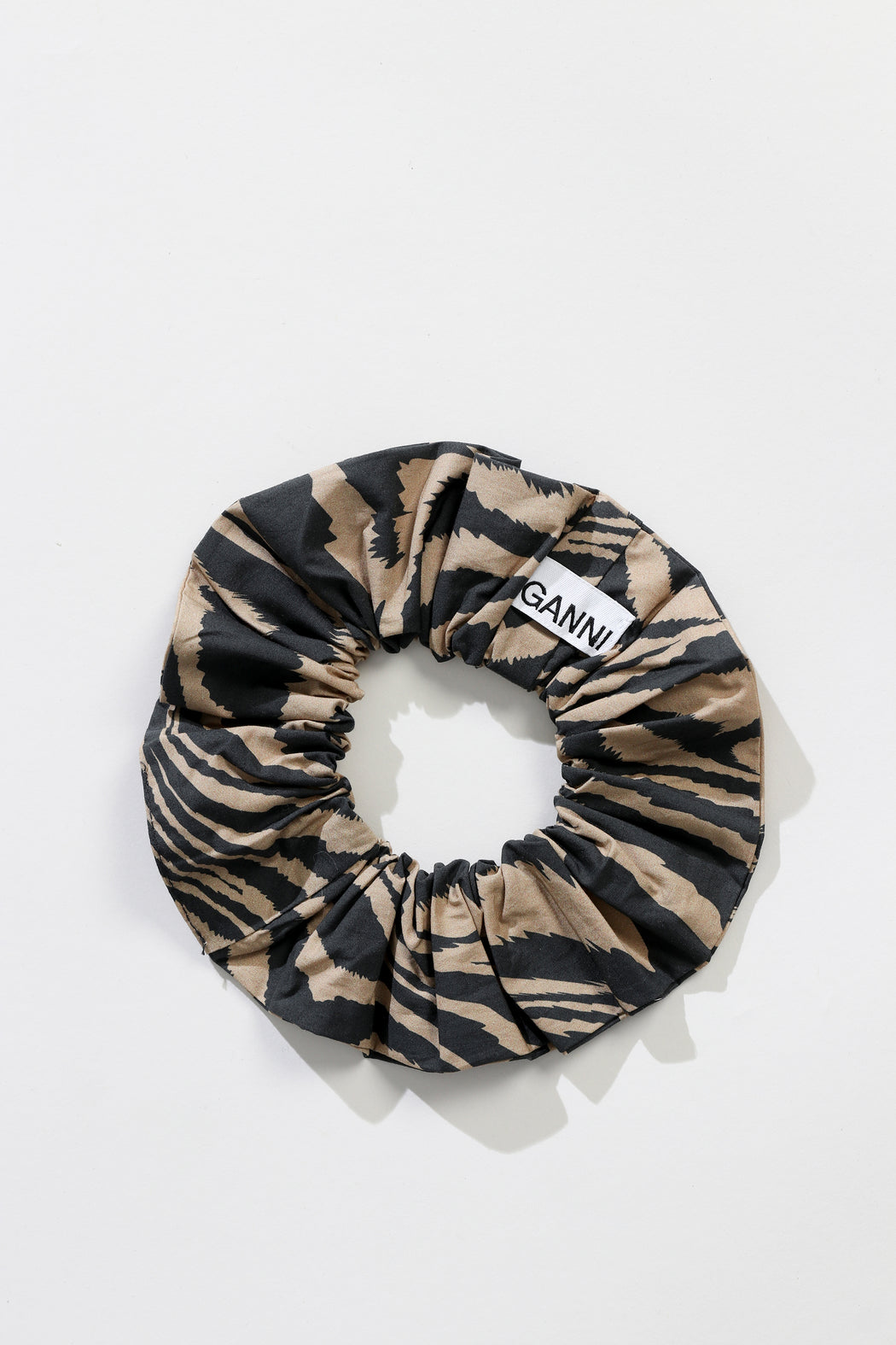 Ganni Printed Cotton Scrunchie Tannin