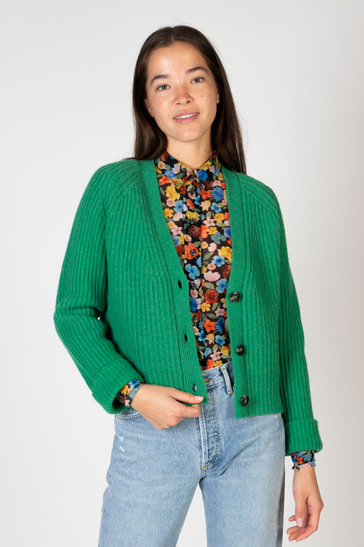 Ganni-Rib-Knit-Cardigan-Foliage-Green
