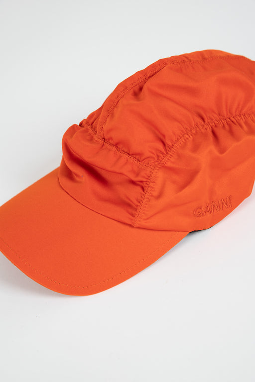 Ganni-Satin-Ruched-Cap-Flame