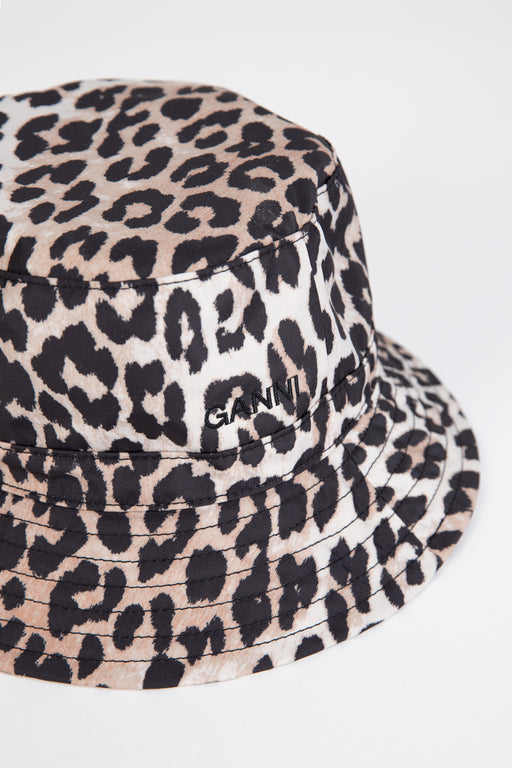 Ganni-Seasonal-Recycled-Tech-Bucket-Hat-Leopard