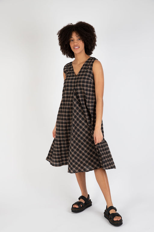 Ganni-Seersucker-Check-Midi-Dress-Fossil