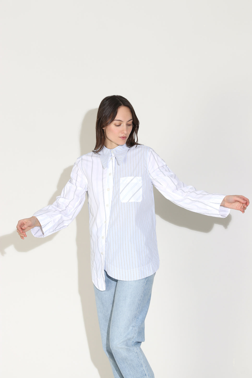 Ganni Shirting Cotton Shirt White Blue