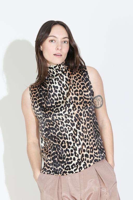 Ganni Silk Stretch Satin Top in Leopard