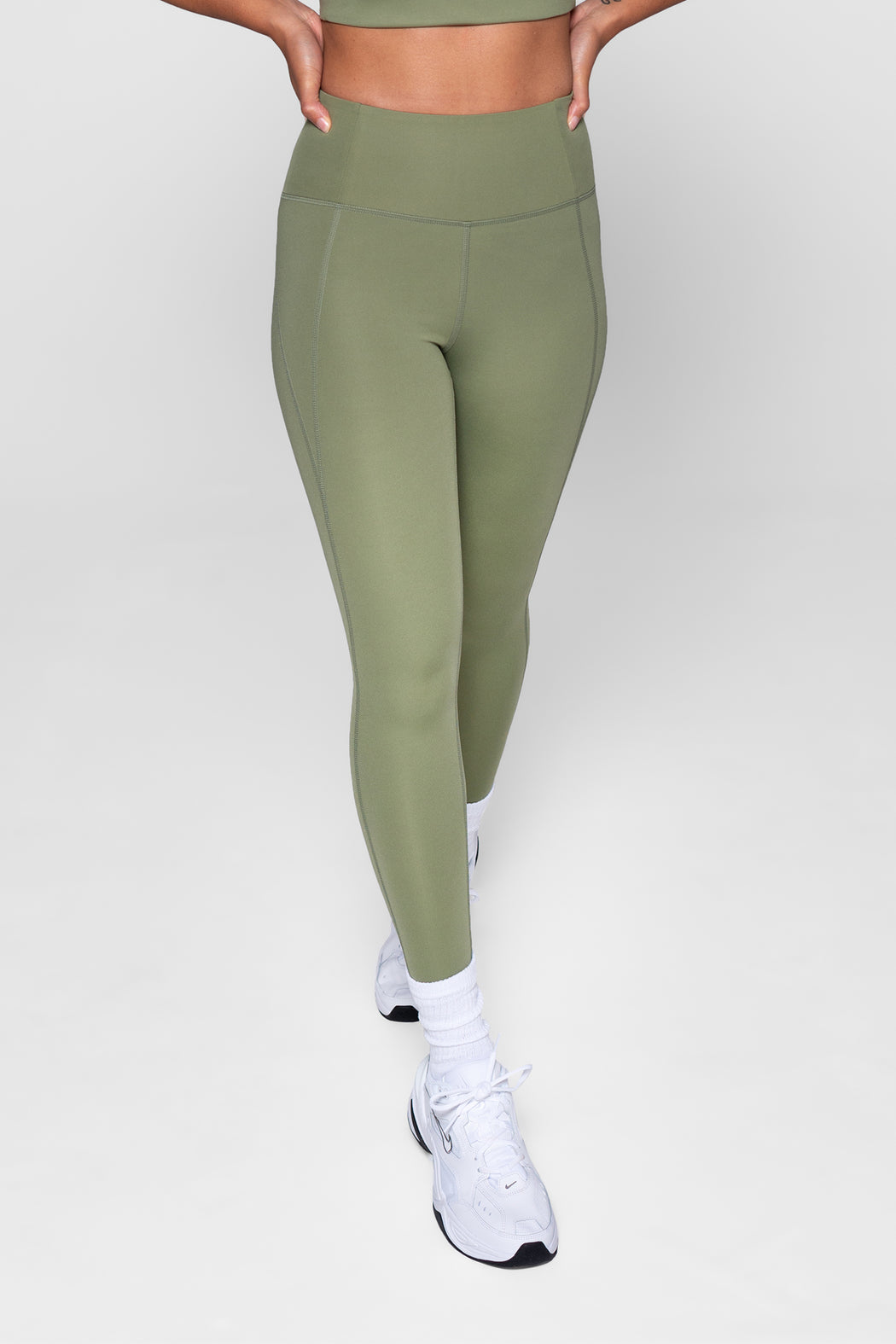 Girlfriend Collective Compressive High-Rise Capri Legging Olive Green