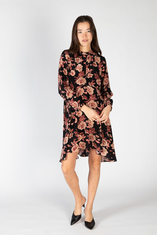Luna-Dress-Black-Peach-Ikat