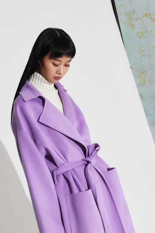 Nanushka Alamo Double Wool Coat Lilac