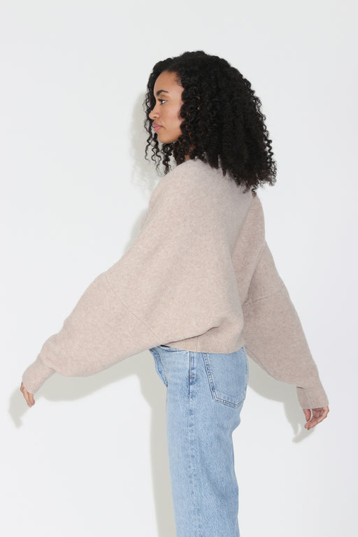 Nanushka Camparo Cropped Knit Sweater in Sand