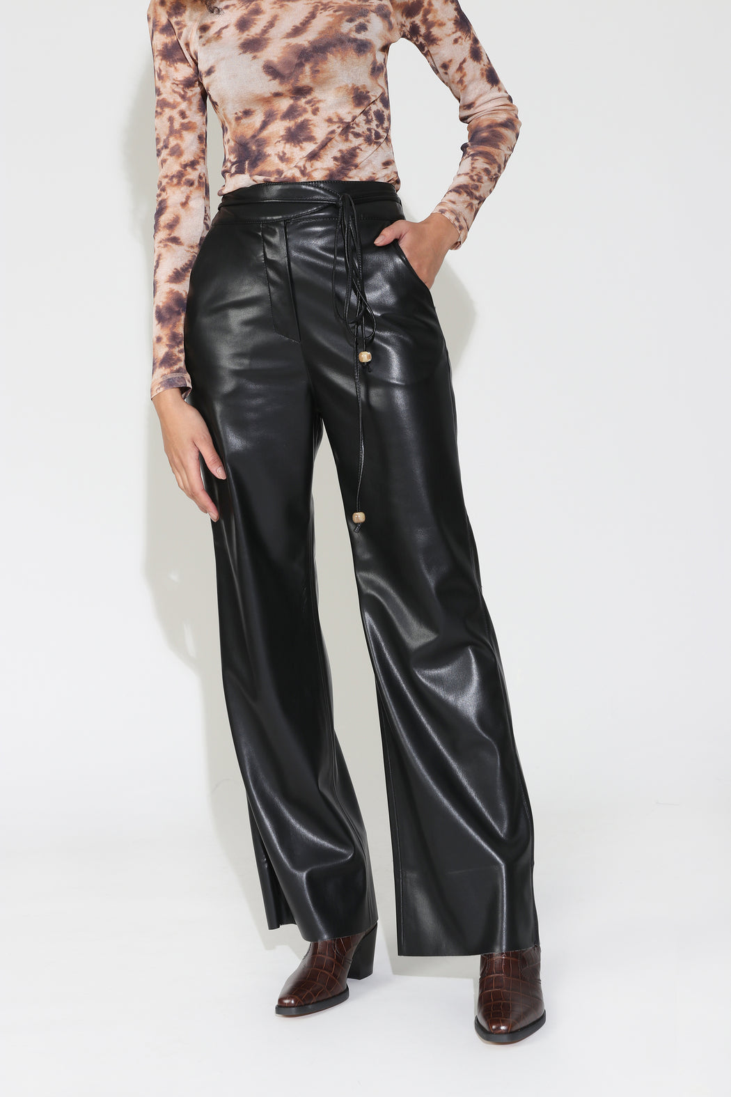 Nanushka Chimo Vegan Leather Belted Pants in Black