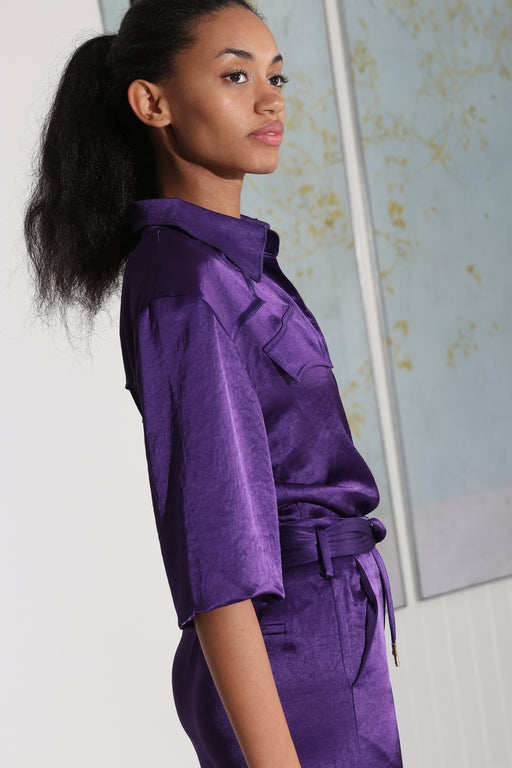 Nanushka Dalas Asymmetric Satin Wrap Top Purple