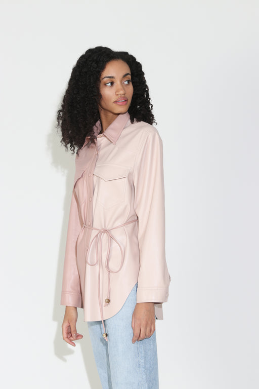 Nanushka Eddy Vegan Leather Belted Shirt in Blush Patchwork