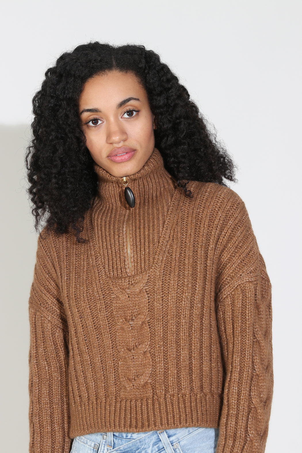 Nanushka Eria Cropped Cable Knit Sweater in Brown