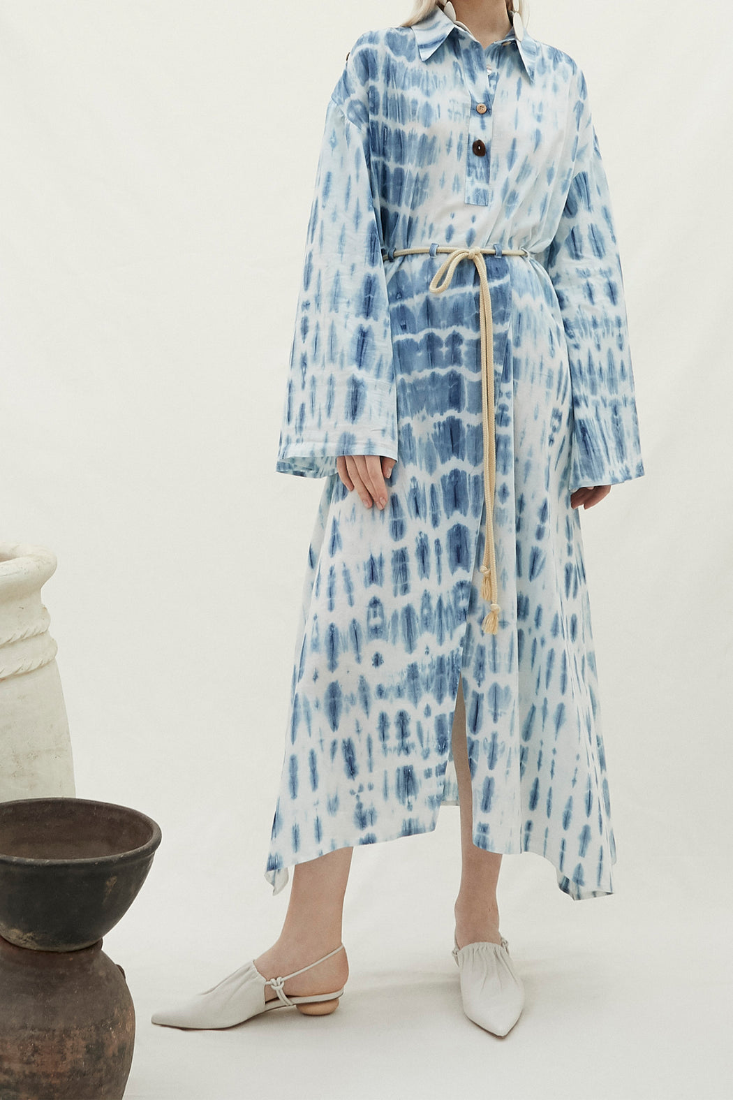 Nanushka Hanna Peasant Dress in Bio Indigo
