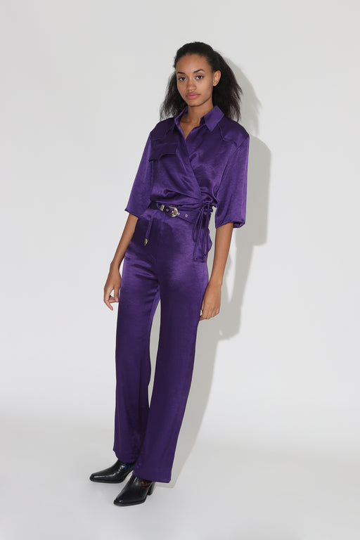 Nanushka Kisa Satin Maxi Pants Purple