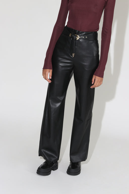 Nanushka Kisa Vegan Leather Maxi Pants Black