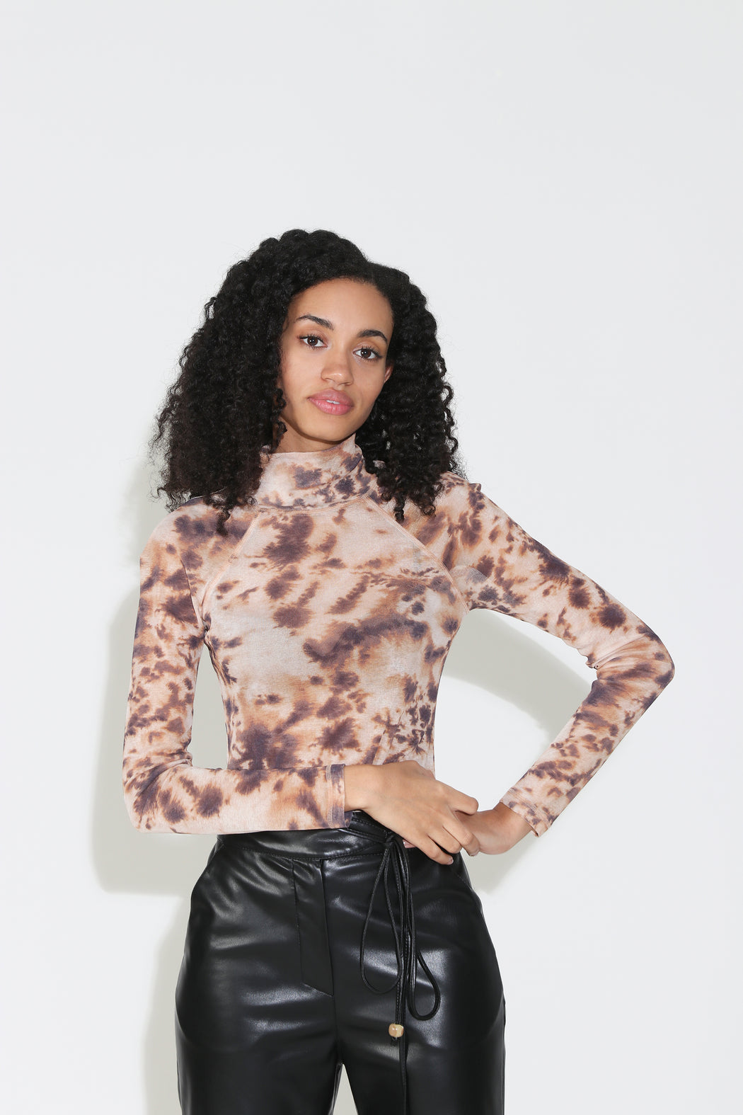 Nanushka Madi Raglan Turtleneck Top in Tie Dye
