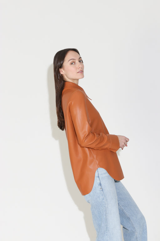 Nanushka Noelle Vegan Leather Shirt in Burnt Orange