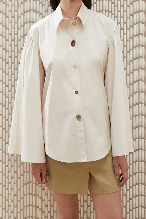 Nanushka Tammi Peasant Shirt in Off-white