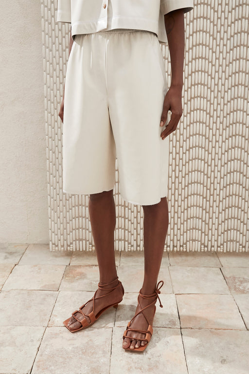 Nanushka Yolie Vegan Leather Bermuda Shorts in Off-white