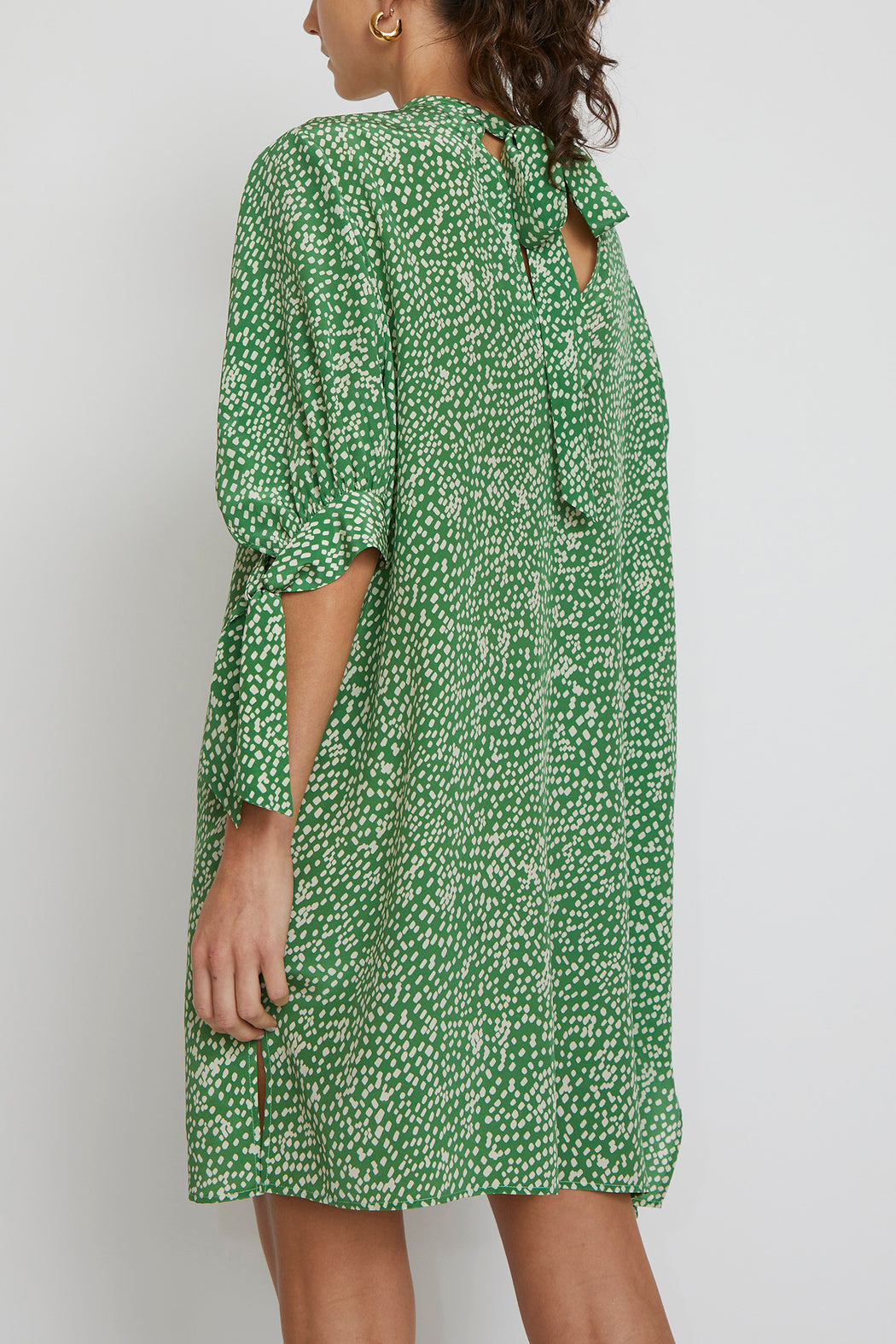 No.6 Adelaide Dress in Green with White Dots Crinkle Silk