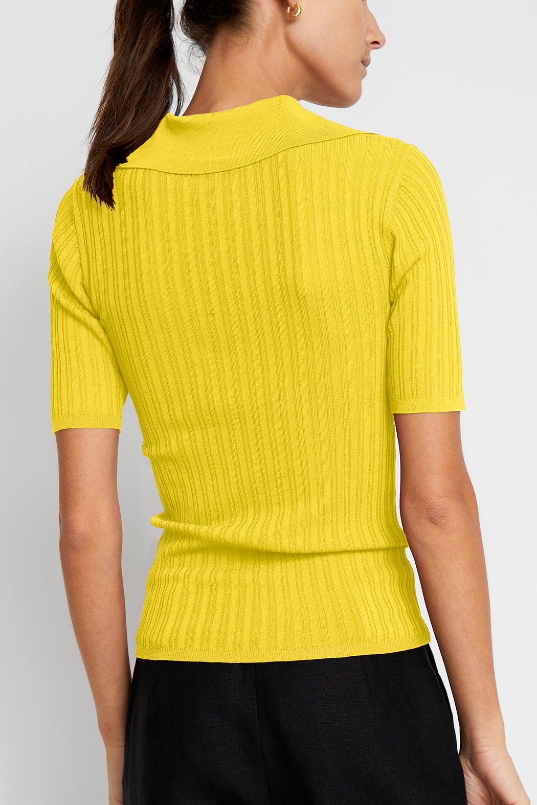 No.6 Adele Ribbed Polo in Citron Rayon Knit
