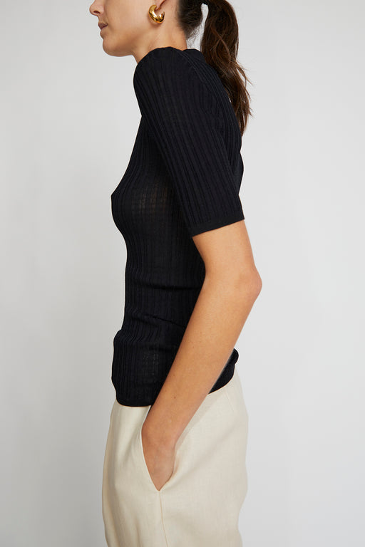 No.6 Adele Ribbed Polo in Black Rayon Knit