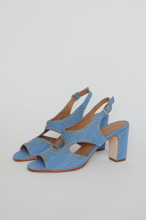No.6 Cleo Heel in Denim Studs